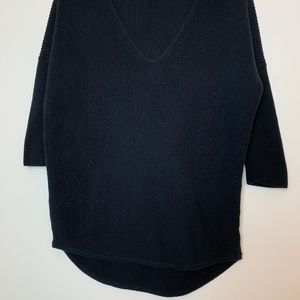 Express Sweaters - Express Knit High Low V Neck Black Sweater